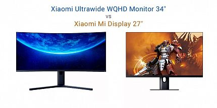Сравнение игровых мониторов Xiaomi: Xiaomi Ultrawide WQHD Monitor 34″ vs Xiaomi Mi Display 27″